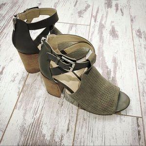 Marc Fisher Gray peep toe booties block heel